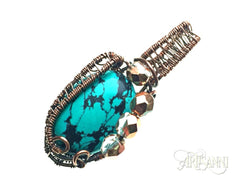 Turquoise and Glass Beads Pendant in Antiqued Copper - angled zoom