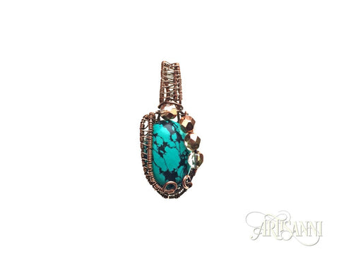 Turquoise and Glass Beads Pendant in Antiqued Copper
