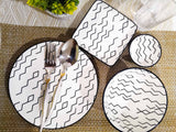 White with black asymmetric print ceramic Plate