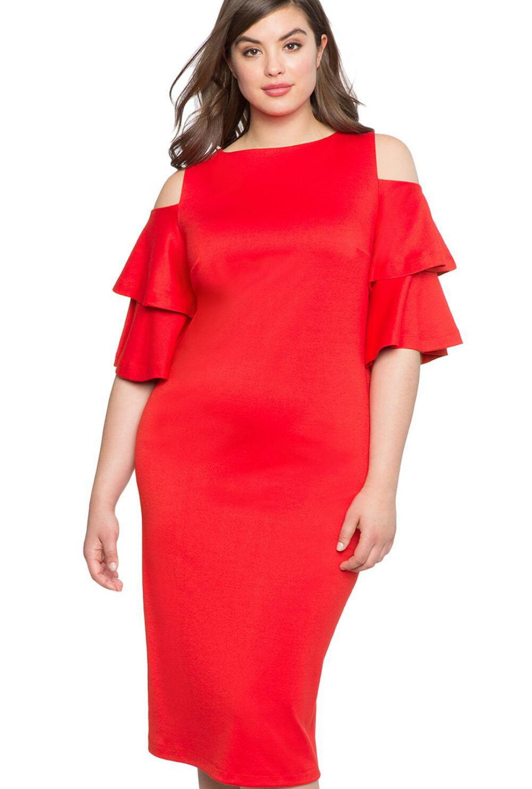 Red Plus Size Flounce Sleeve Cold Shoulder Dress