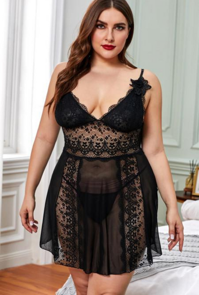 Black Color Block Hollow-out Lace Gauze Patchwork Plus Size Babydoll