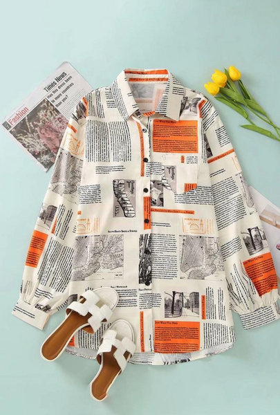 Newspaper Print Long Sleeve Shirt For Ladies