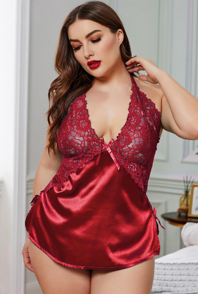 Red Plus Size Enticing Words Satin Cami Set