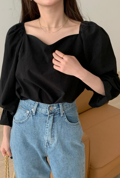 Simple France style tops Korean style shirt