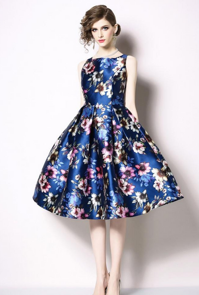 Fashion flowers printing dress