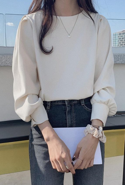 Pure long sleeve simple round neck Korean style shirt