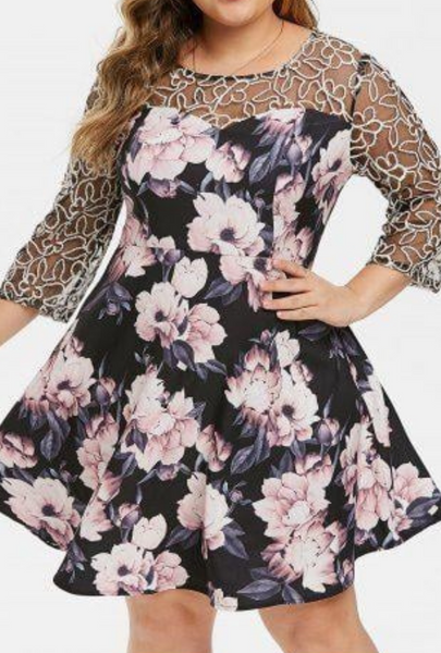 Plus Size Floral Mesh Yoke Semi Formal Dress