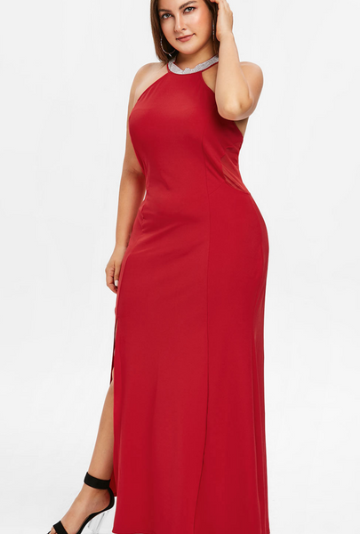 Red Twisted Love Plus Size maxi Dress