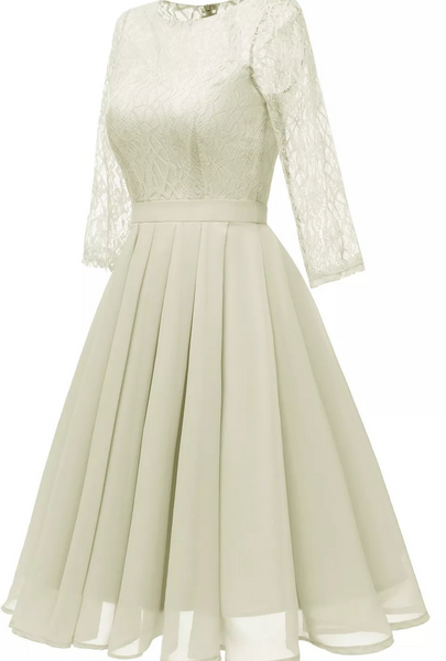 White Lace Skater Skirt Dress