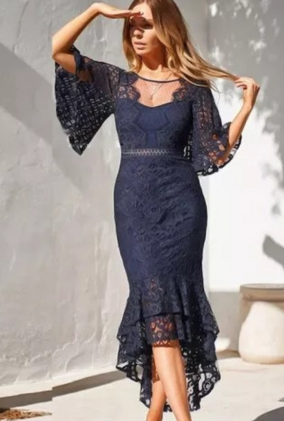 Occasional Lace High Low Mermaid Elegant Dress
