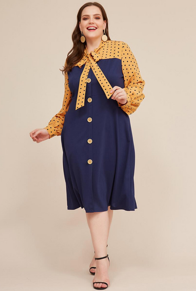 Tie Neck Polka Dot Patchwork Plus Size Midi Dress