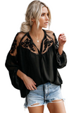 Black Formal Invitation Lace Blouse