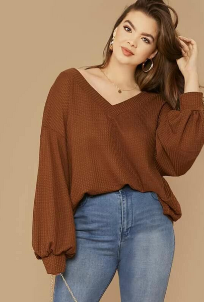 Plus Size Brown Drop Shoulder Lantern Sleeve Waffle Knit Top