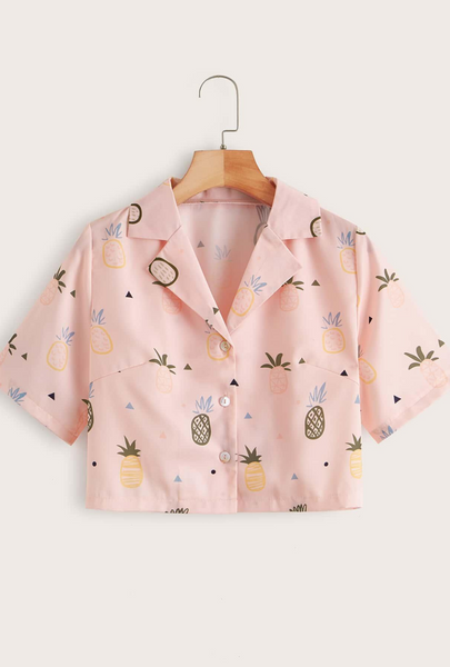Pink Pineapple Print Lapel Collar Button Through Blouse