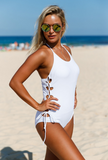 Halter Neck Lace up Sides Maillot