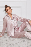 Floral & Striped Print Satin PJ Set