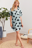 Lapel Neck Heart Print Satin Night Dress