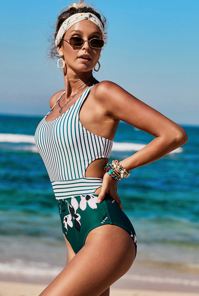 White Printed Zipped Racerback Maillot