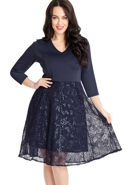 Blue Intelligent Sequin Embossed Pattern Skater Dress