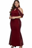 Red High Neck Drop Shoulder Sequin Décor Plus Size Gown