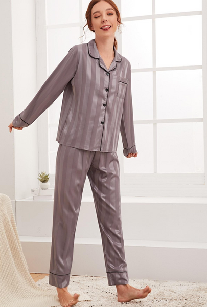 Striped Contrast Binding Satin PJ Set