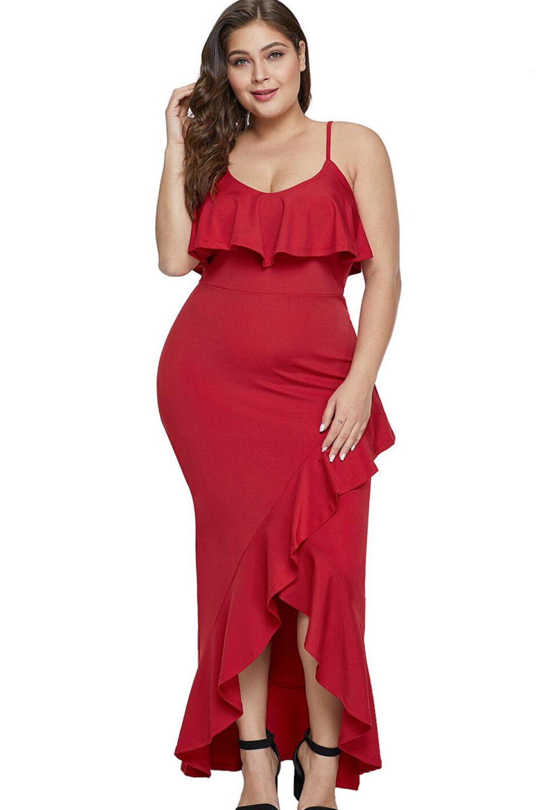 Red Plus Size Ruffle Trim Spaghetti Straps Maxi Dress