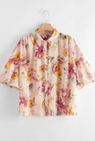 Floral Lantern Sleeve Button Up Blouse