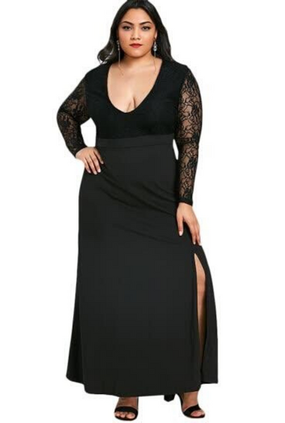 Plus Size Plunge Lace Sleeve Maxi Dress