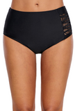 Black Strappy Lace Panel Aside Swim Bottom