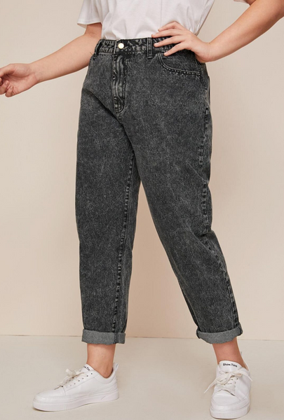 Plus Size Dark Wash Tapered Jeans