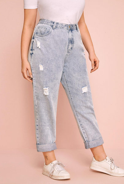 Plus Size Light Wash Ripped Mom Jeans