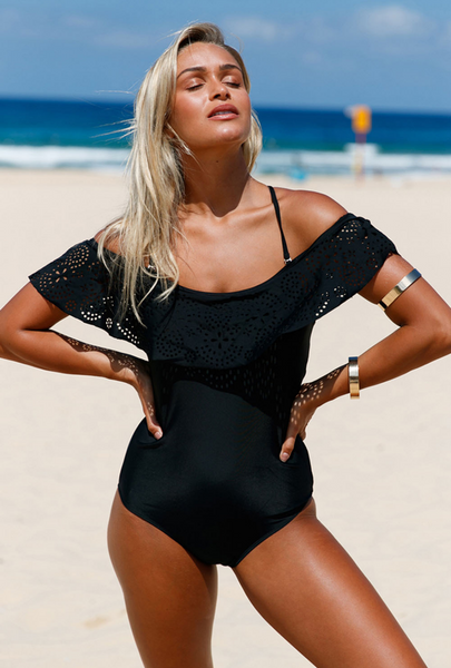Black Flounce Off Shoulder One Piece Swimsuit