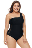 One Shoulder Grid Cutout Side Plus Size Maillot Swimwear