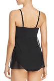 Black Sheer Flyaway Mesh Overlay Teddy Swimsuit