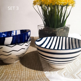 Blue and white stripe ceramic soup bowl