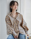 Vertical stripes shirt lantern sleeve top