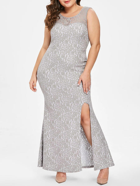 Lace Plus Size Front Slit Maxi Dress