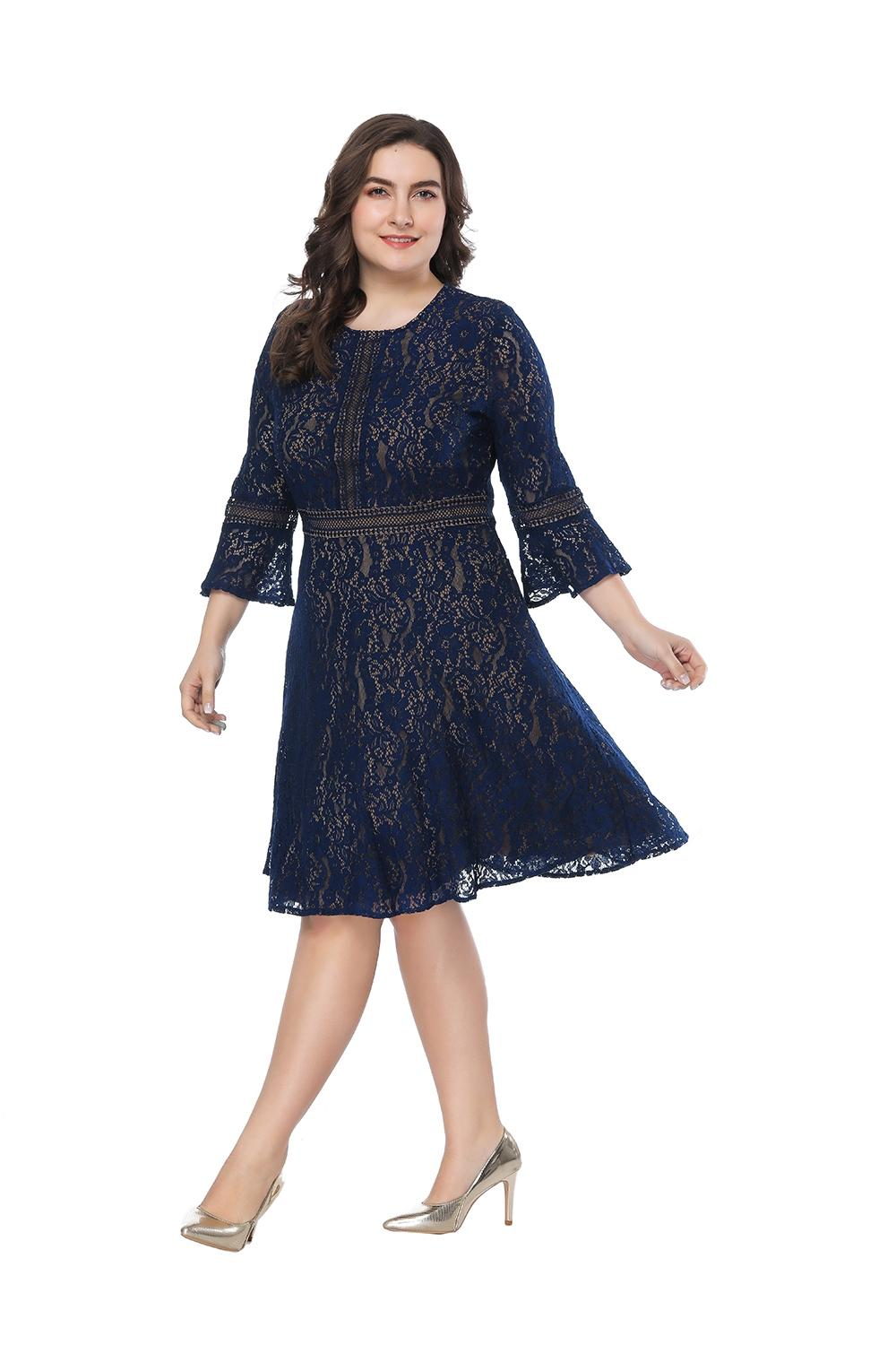 Plus Size Blue Lace Elegant Cocktail Dress