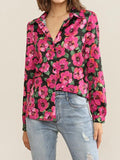 Casual Long Sleeve Floral Chiffon Blouse