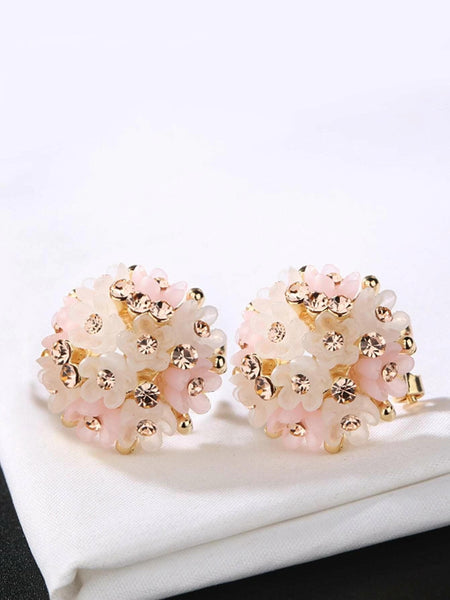 Rhinestone Detail Flower Stud Earrings 1pair