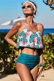 Green Ruffle Top High Waist Bottom Bikini Swimsuit