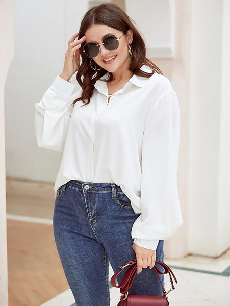 Plus Size Bishop Sleeve Button Up Blouse