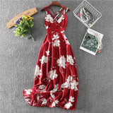 Halter printing high waist dress V-neck cross beach dress