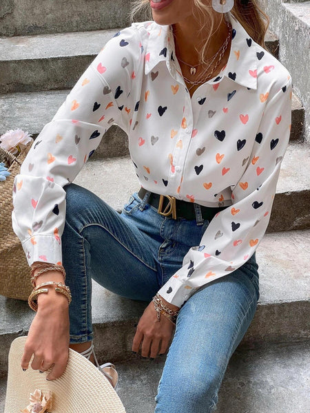 Allover Heart Print Button Front Blouse