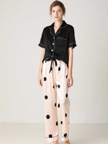 Stitching Color Short Sleeve Top With Stripe Dot Long Pants