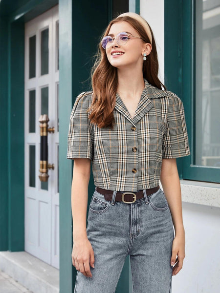 Plaid Button Up Blouse
