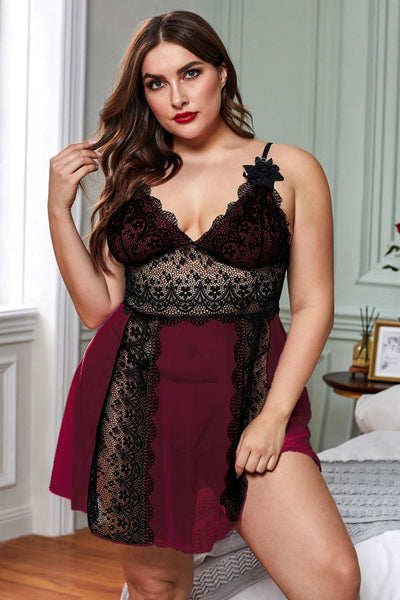 Red Color Block Hollow-out Lace Gauze Patchwork Plus Size Babydoll
