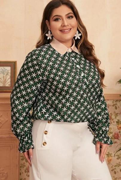 Plus Size All Over Floral Half Button Blouse