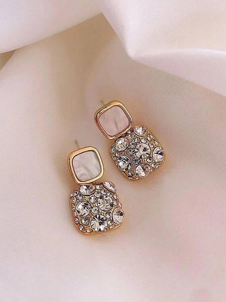 Rhinestone Geo Decor Earrings