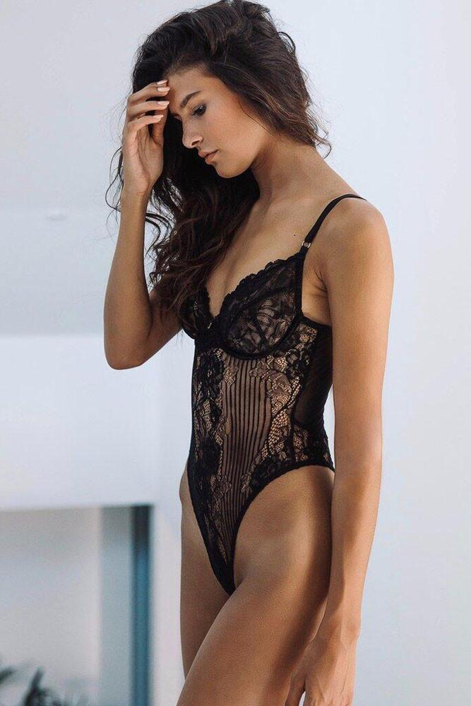 Black Yummy Scalloped Lace Teddy Lingerie